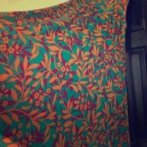 LuLaRoe green/orange/pink maxi skirt women's XXS